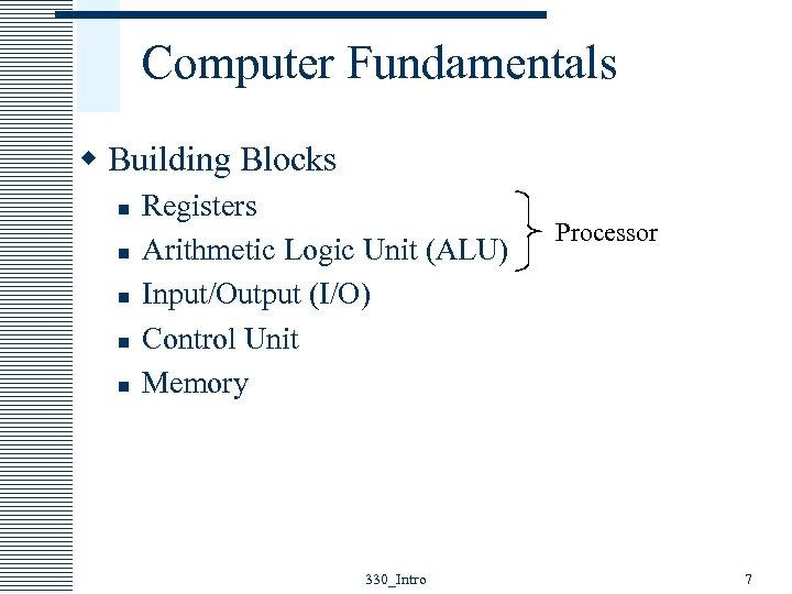 Computer Fundamentals w Building Blocks n n n Registers Arithmetic Logic Unit (ALU) Input/Output