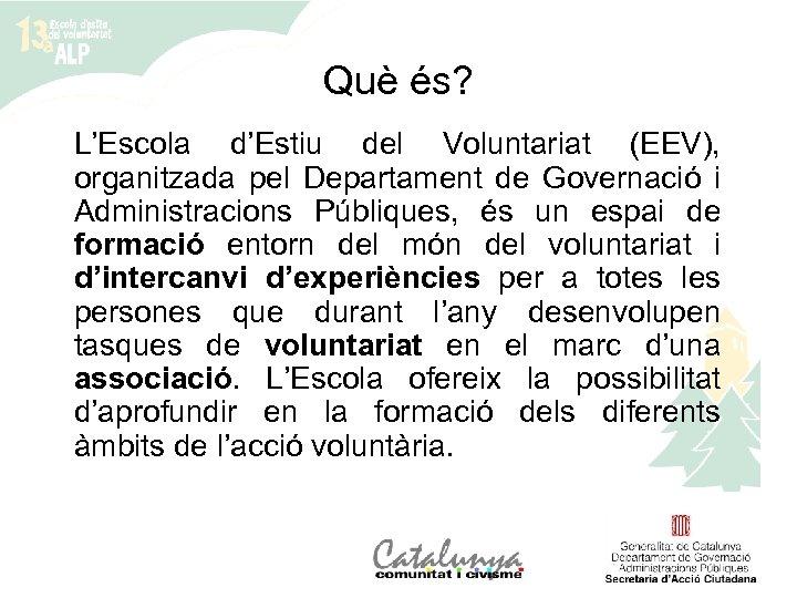 Què és? L'Escola d'Estiu del Voluntariat (EEV), organitzada pel Departament de Governació i Administracions
