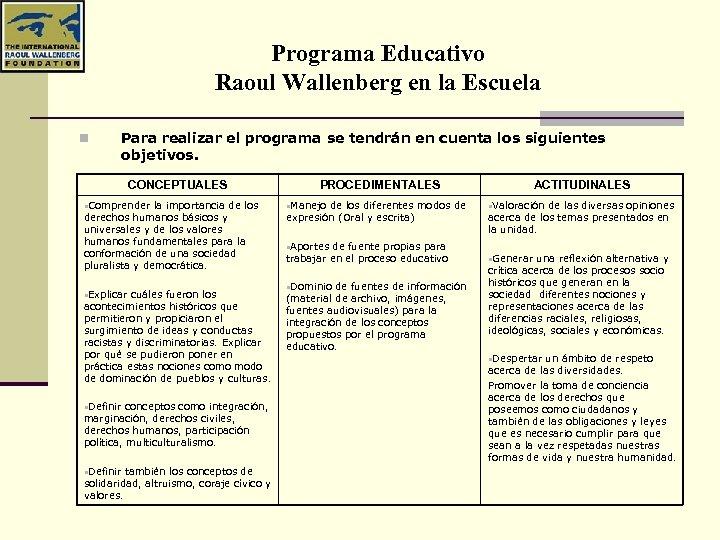 Programa Educativo Raoul Wallenberg en la Escuela n Para realizar el programa se tendrán