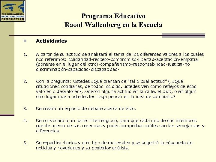Programa Educativo Raoul Wallenberg en la Escuela n Actividades 1. A partir de su
