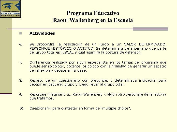 Programa Educativo Raoul Wallenberg en la Escuela n Actividades 6. Se propondrá la realización
