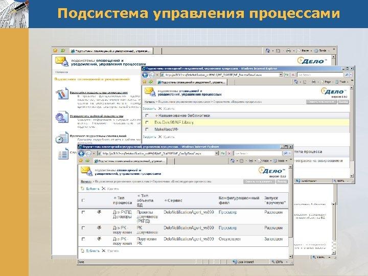 Подсистема управления процессами