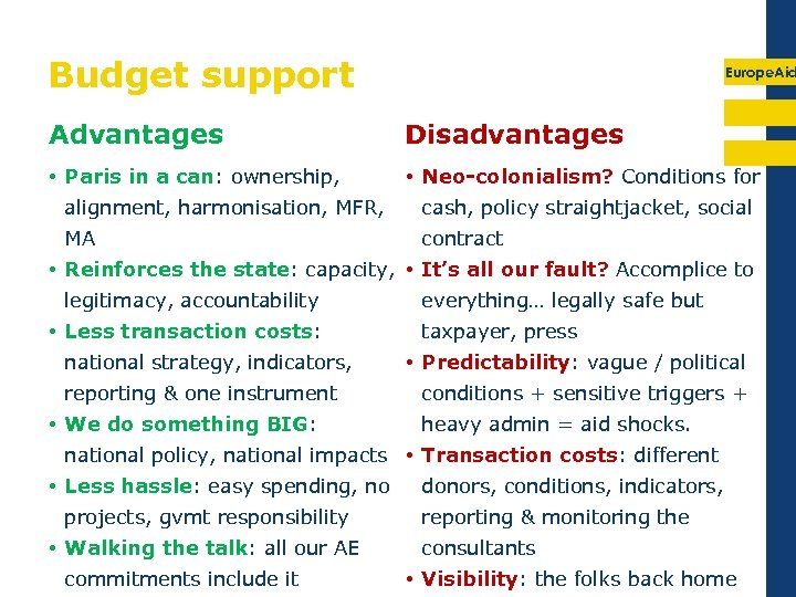 Budget support Europe. Aid Advantages Disadvantages • Paris in a can: ownership, • Neo-colonialism?