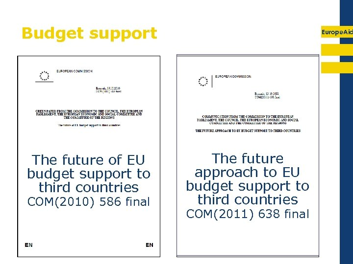 Budget support The future of EU budget support to third countries COM(2010) 586 final