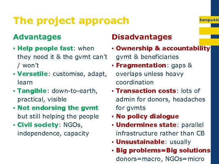 The project approach Europe. Aid Advantages Disadvantages • Help people fast: when they need