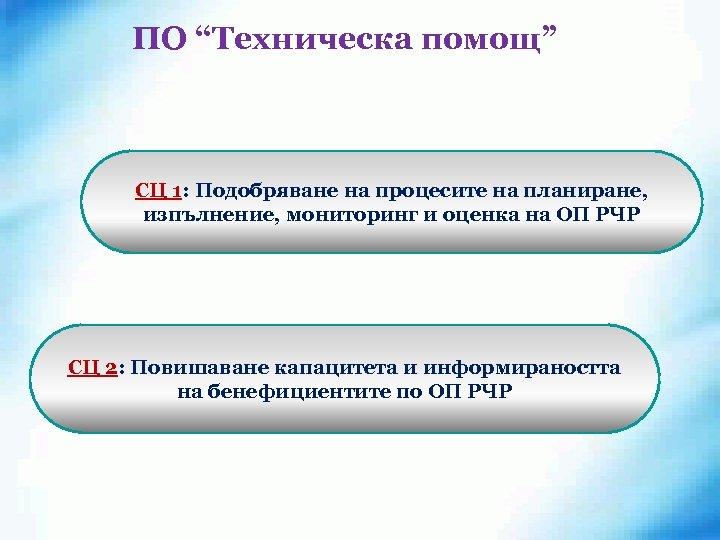 """ПО """"Техническа помощ"""" СЦ 1: Подобряване на процесите на планиране, изпълнение, мониторинг и оценка"""