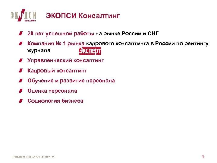 ЭКОПСИ Консалтинг 20 лет успешной работы на рынке России и СНГ Компания № 1