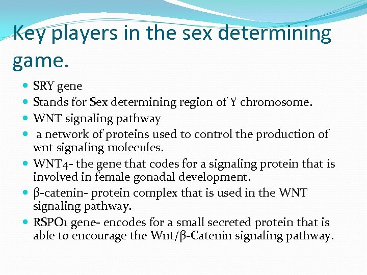 Key players in the sex determining game. SRY gene Stands for Sex determining region