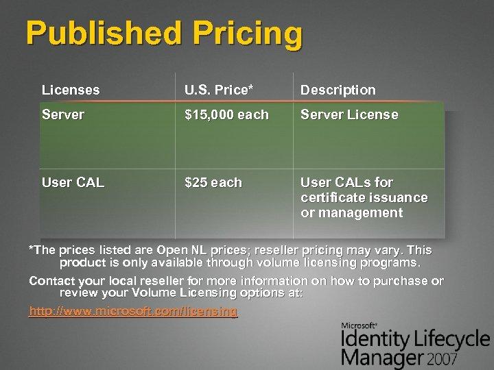 Published Pricing Licenses U. S. Price* Description Server $15, 000 each Server License User