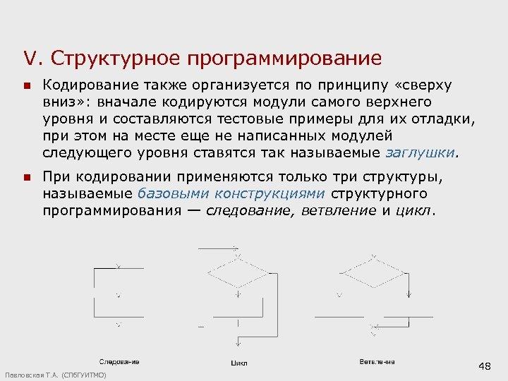 V. Структурное программирование n Кодирование также организуется по принципу «сверху вниз» : вначале кодируются