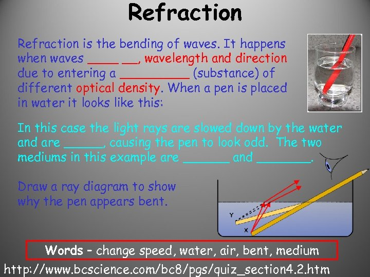 Refraction is the bending of waves. It happens when waves ____ __, wavelength and