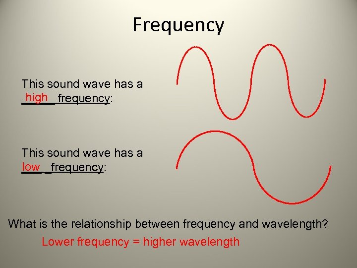 Frequency This sound wave has a high _____ frequency: This sound wave has a