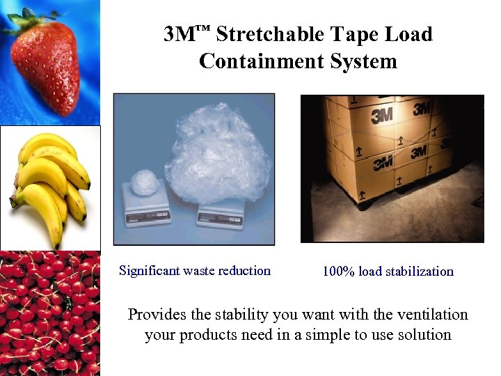 3 M™ Stretchable Tape Load Containment System Significant waste reduction 100% load stabilization Provides