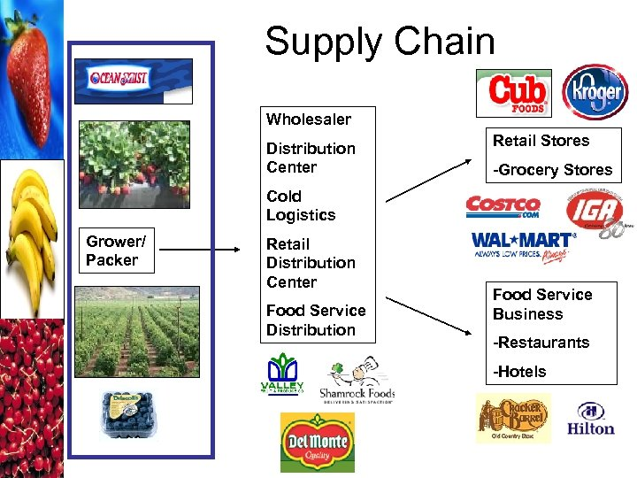 Supply Chain Wholesaler Distribution Center Retail Stores -Grocery Stores Cold Logistics Grower/ Packer Retail