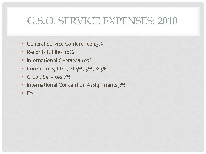 G. S. O. SERVICE EXPENSES: 2010 • • General Service Conference 13% Records &