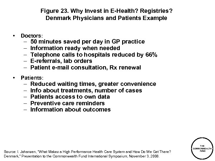 Figure 23. Why Invest in E-Health? Registries? Denmark Physicians and Patients Example • Doctors: