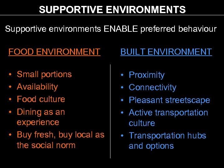 SUPPORTIVE ENVIRONMENTS Supportive environments ENABLE preferred behaviour FOOD ENVIRONMENT BUILT ENVIRONMENT • • Small
