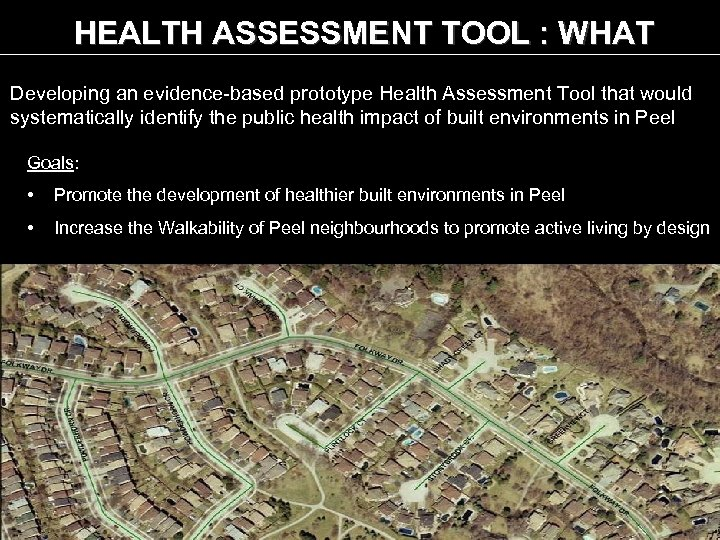 HEALTH ASSESSMENT TOOL : WHAT Developing an evidence-based prototype Health Assessment Tool that would