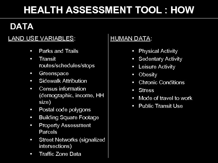 HEALTH ASSESSMENT TOOL : HOW DATA LAND USE VARIABLES: • • • Parks and