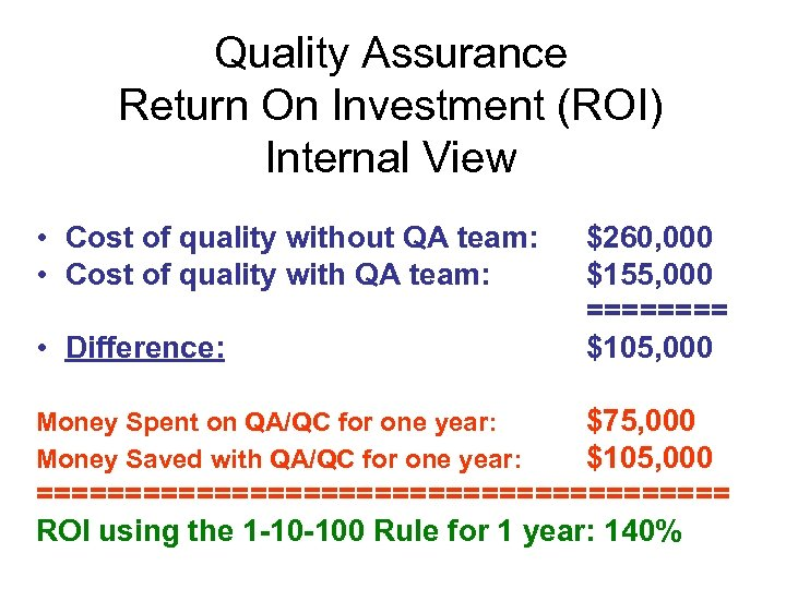 Quality Assurance Return On Investment (ROI) Internal View • Cost of quality without QA