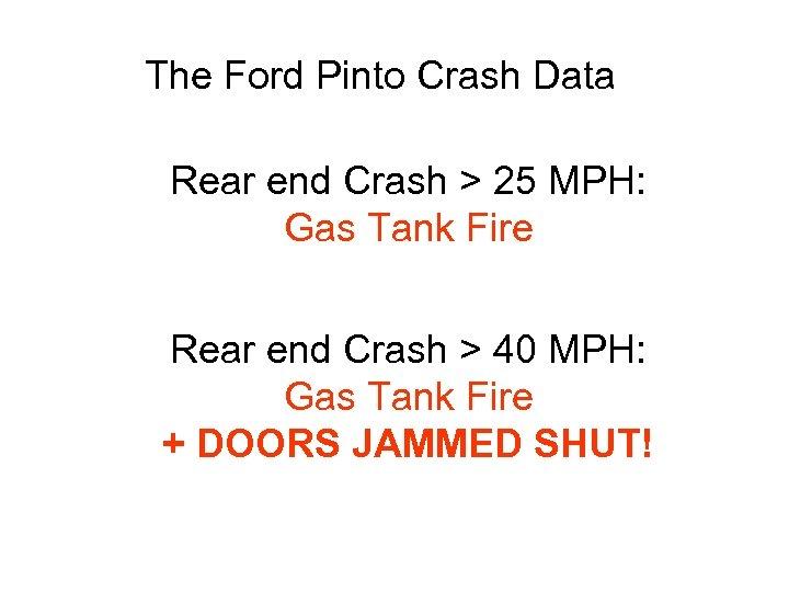 The Ford Pinto Crash Data Rear end Crash > 25 MPH: Gas Tank Fire