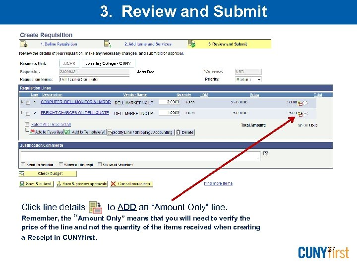 3. Review and Submit JJCPR John Jay College - CUNY John Doe Click line