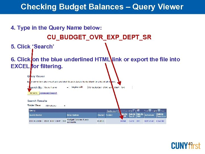Checking Budget Balances – Query Viewer 4. Type in the Query Name below: CU_BUDGET_OVR_EXP_DEPT_SR