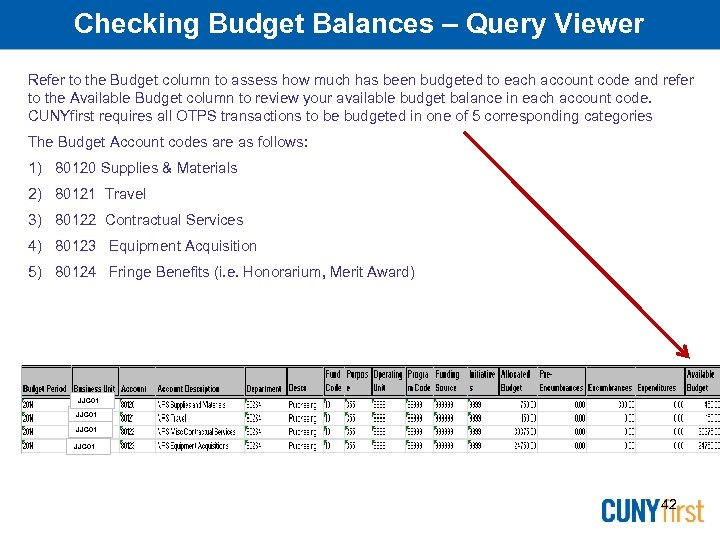 Checking Budget Balances – Query Viewer Refer to the Budget column to assess how