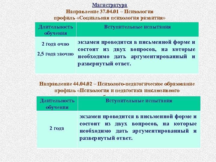 Магистратура Направление 37. 04. 01 – Психология профиль «Социальная психология развития» Длительность обучения Вступительные