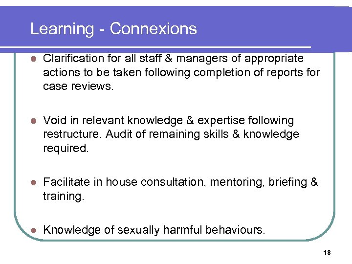 Learning - Connexions l Clarification for all staff & managers of appropriate actions to