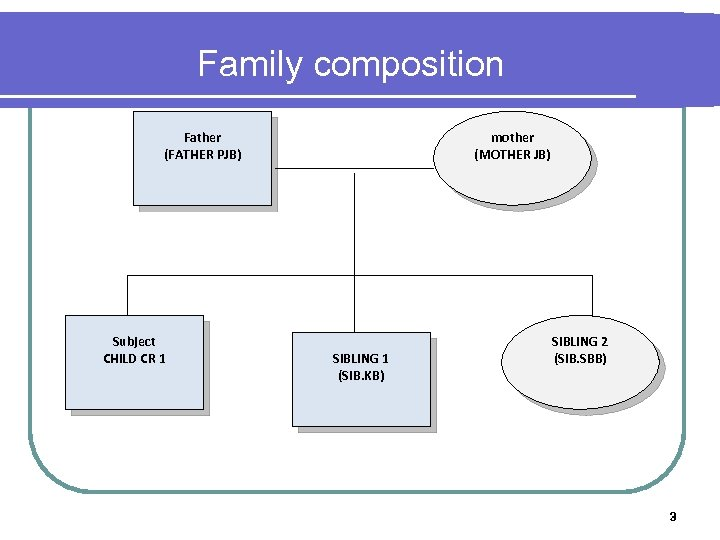 Family composition mother (MOTHER JB) Father (FATHER PJB) Subject CHILD CR 1 SIBLING 1