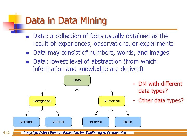 Data in Data Mining n n n Data: a collection of facts usually obtained