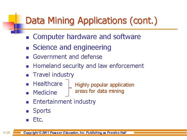 Data Mining Applications (cont. ) n n n n n 4 -19 Computer hardware