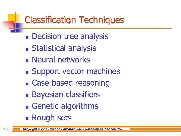 Classification Techniques n n n n 4 -32 Decision tree analysis Statistical analysis Neural