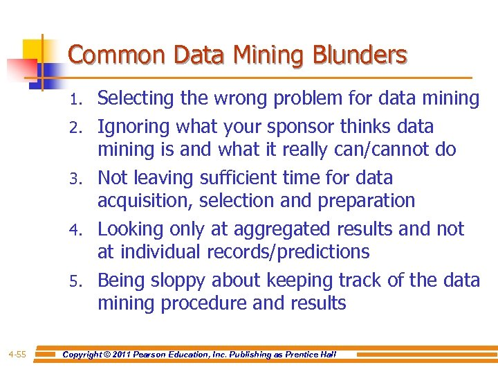 Common Data Mining Blunders 1. 2. 3. 4. 5. 4 -55 Selecting the wrong
