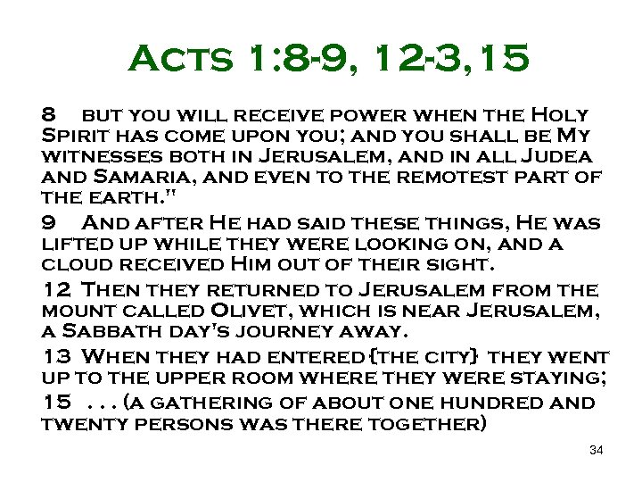 Acts 1: 8 -9, 12 -3, 15 8 but you will receive power when