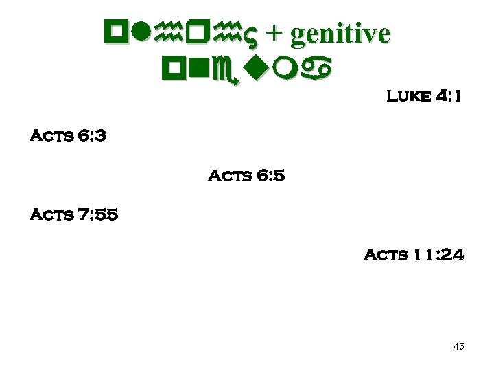 plhrh + genitive pneuma Luke 4: 1 Acts 6: 3 Acts 6: 5 Acts