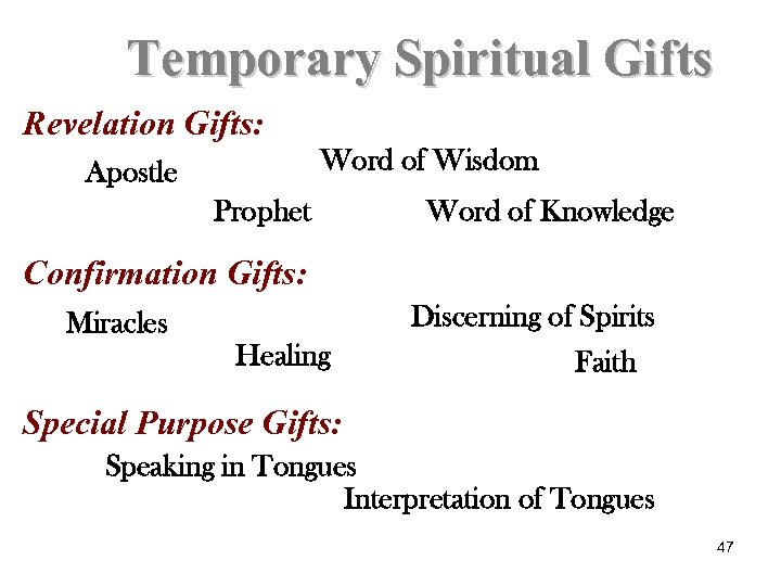 Temporary Spiritual Gifts Revelation Gifts: Word of Wisdom Apostle Prophet Word of Knowledge Confirmation