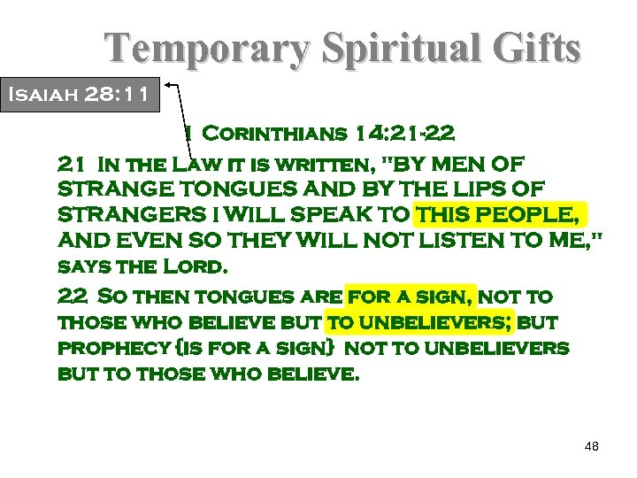 Temporary Spiritual Gifts Isaiah 28: 11 1 Corinthians 14: 21 -22 21 In the