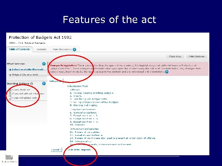 Features of the act