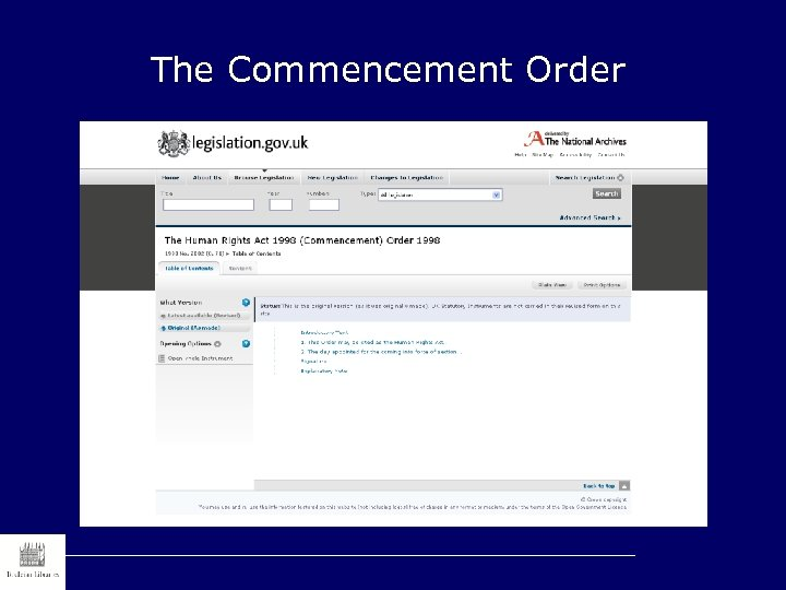 The Commencement Order