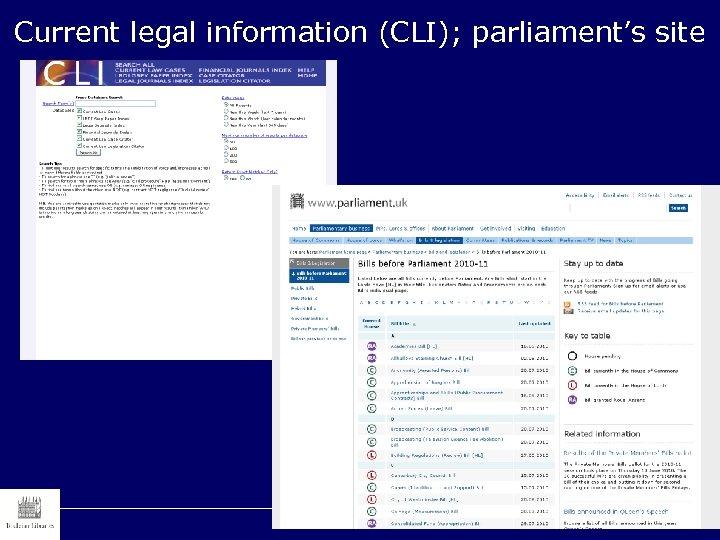 Current legal information (CLI); parliament's site