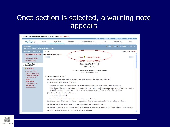 Once section is selected, a warning note appears