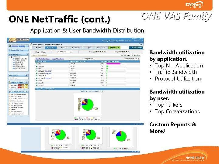 ONE Net. Traffic (cont. ) ONE VAS Family – Application & User Bandwidth Distribution