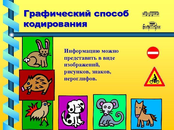 Графический способ кодирования Информацию можно представить в виде изображений, рисунков, знаков, иероглифов.