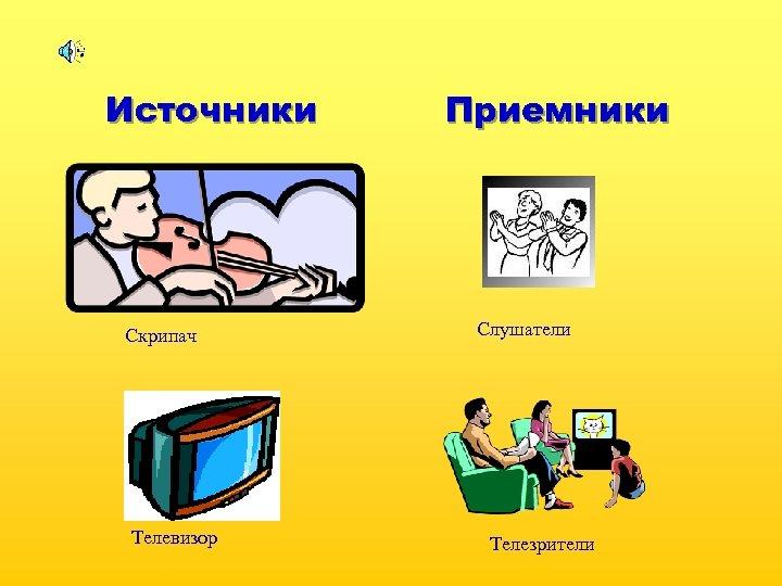 Источники Скрипач Телевизор Приемники Слушатели Телезрители