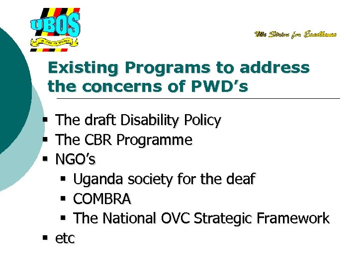 Existing Programs to address the concerns of PWD's The draft Disability Policy The CBR
