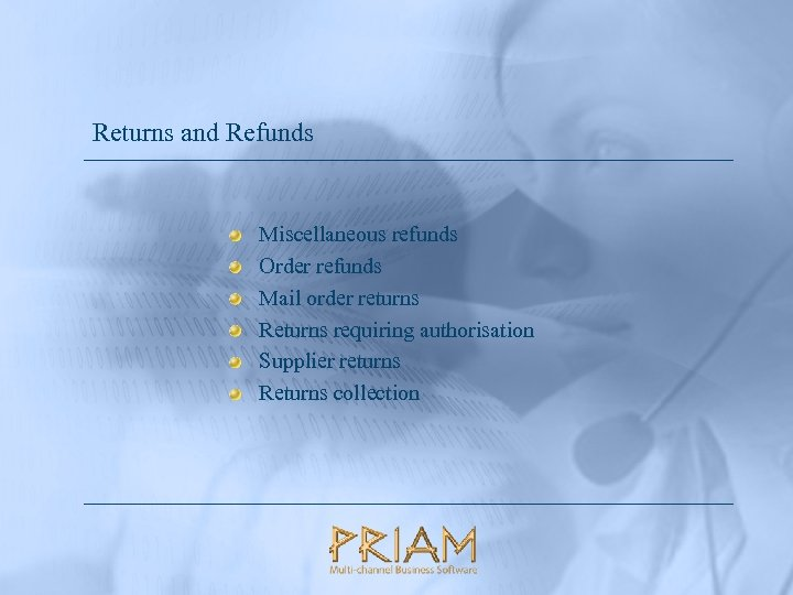 Returns and Refunds Miscellaneous refunds Order refunds Mail order returns Returns requiring authorisation Supplier
