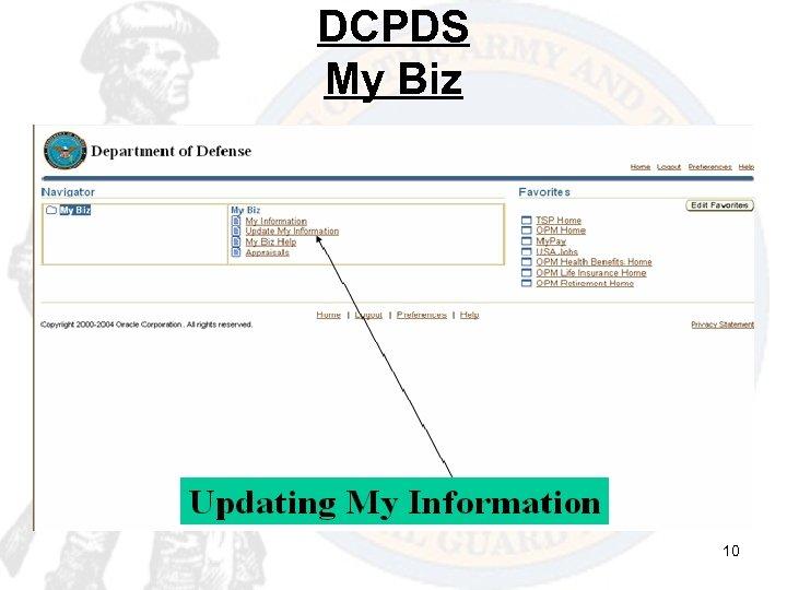 DCPDS My Biz 10