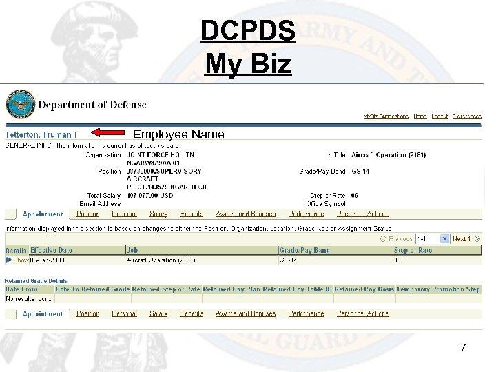 DCPDS My Biz Employee Name 7
